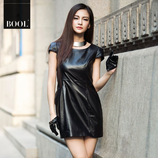 Bool-2012-sheepskin-genuine-leather-one-piece-dress-women-s-slim-leather-skirt-1650